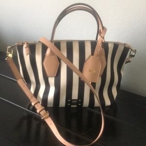Kate Landry back and cream striped purse